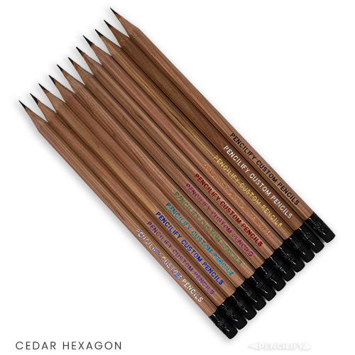 Pencilify Custom Hexagon Pencils - Cedar Wood